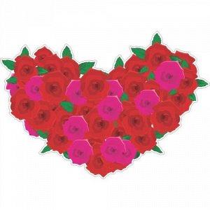 Наклейка Сердце из роз (подойдет на капот машины)