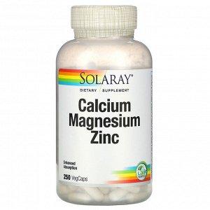 Solaray, кальций, магний и цинк, 250 растительных капсул