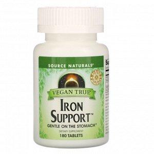 Source Naturals, Vegan True, Iron Support (препарат для поддержания уровня железа, подходит для веганов), 180 таблеток