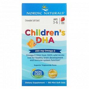 Nordic Naturals, Детская ДГК, с клубникой, 250 мг, 180 мини мягких капсул