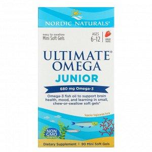Nordic Naturals, Ultimate Omega Junior, для детей от 6 до 12 лет, со вкусом клубники, 680 мг, 90 мини-капсул