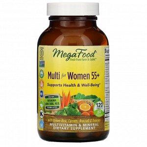 MegaFood, Multi for Women 55+, комплекс витаминов и микроэлементов для женщин старше 55 лет, 120 таблеток