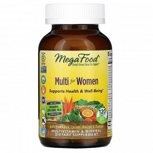 MegaFood, Multi for Women, комплекс витаминов и микроэлементов для женщин, 120 таблеток