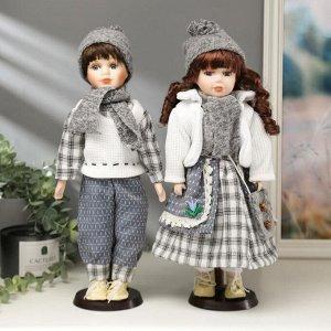 """Кукла коллекционная парочка набор 2 шт """"Мила и Слава в нарядах в серую клетку"""" 40 см"""