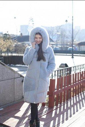 Пальто керли с капюшоном голубой
