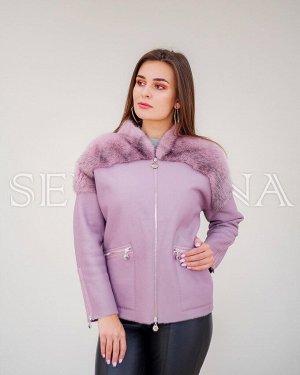 Куртка-дубленка + норка Розовый