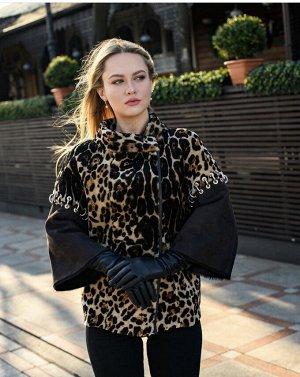 Куртка из овчины леопаровый принт
