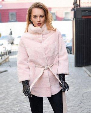 Полушубок из бобра пудрово-розового цвета