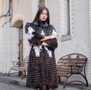 Пальто из лисы росшив 3 цвета