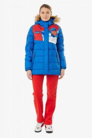 Куртка пуховая женская (голубой/красный)