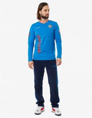 Футболка длинный рукав мужская (голубой)