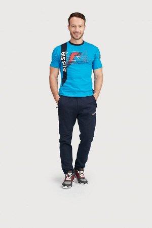 Футболка короткий рукав мужская (голубой/синий)