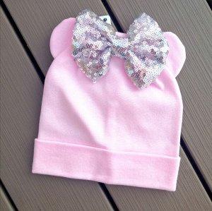 Шапка детская Микки с бантиком, розовая