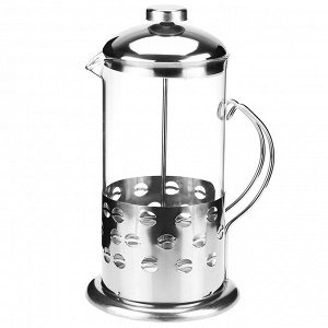"""Френч-пресс корпус из нержавеющей стали """"Кофе-зерна"""" 1000мл, д9,6см h23см, стеклянная колба, в подарочной коробке (Китай)"""