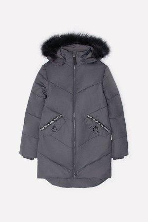 Пальто Цвет: темно-серый; Утеплитель: с утеплителем; Вид изделия: Изделия из мембраны; Рисунок: темно-серый; Сезон: Осень-Зима Зимнее стеганое пальто для девочки, на подкладке с утеплителем SEE 250г/