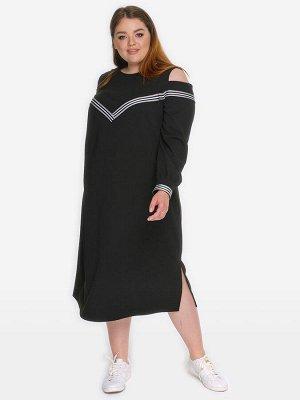 Платье с отделкой тесьмой, черное