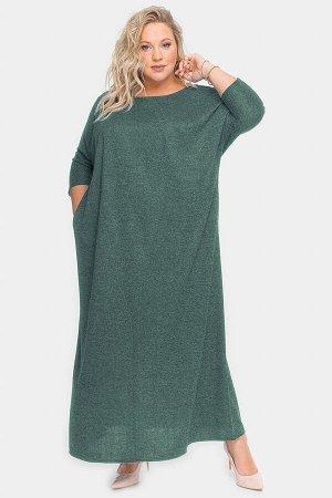 Платье длинное из зеленого меланжа