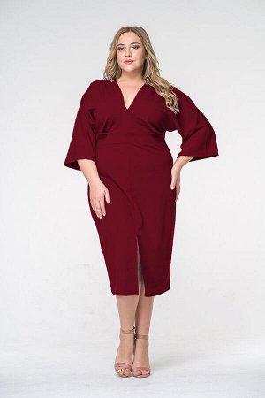 Платье миди из крепа с разрезом бордового цвета