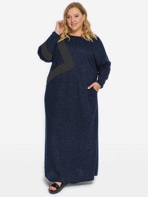 Платье из джерси-меланж с асимметричной отделкой, темно-синее, отделка темно-серая