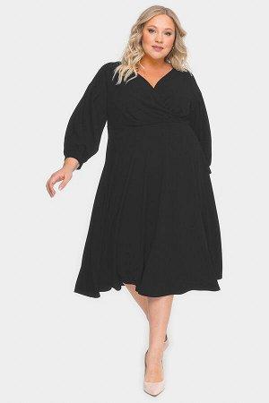 Платье с драпировкой и пышной юбкой, черное