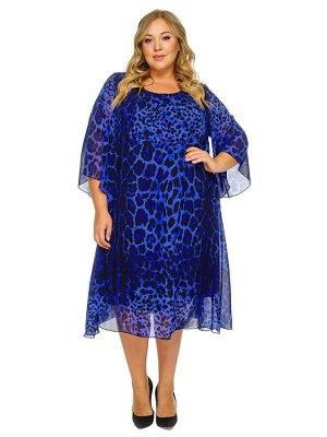 Платье с защипами по горловине, шифон принт синий леопард