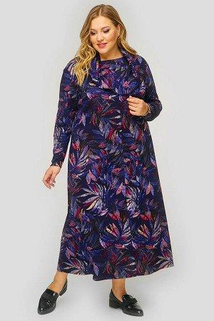 """Платье длинное с """"хомутом"""", джерси,  принт темно-синий"""