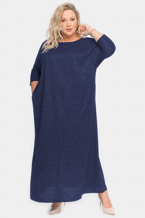 Платье длинное из темно-синего меланжа