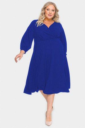 Платье с драпировкой и пышной юбкой, васильковый