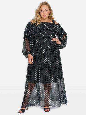 Платье с двойным воланом по горловине, шифон черный в ментоловый горошек