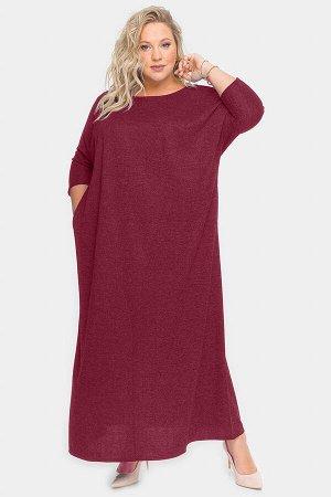 Платье длинное из бордового меланжа