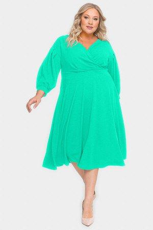 Платье с драпировкой и пышной юбкой, ментоловое