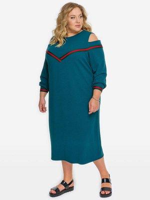 Платье с отделкой тесьмой, зеленое
