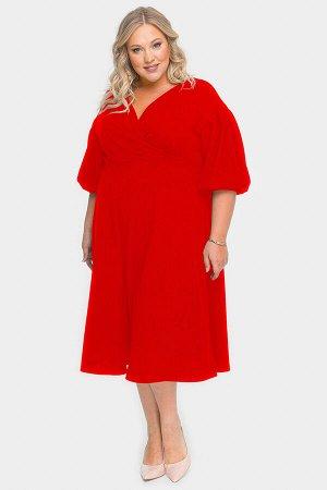 Платье с драпировкой и пышной юбкой, красное