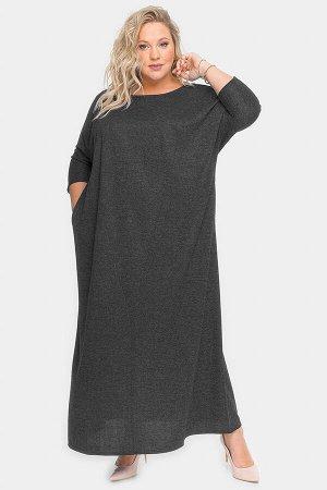 Платье длинное из темно-серого меланжа
