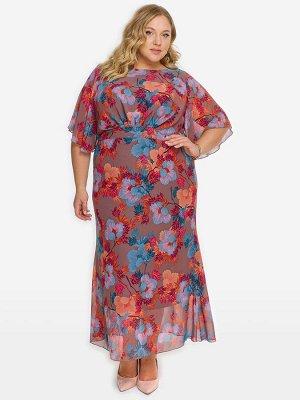 Платье из шифона со свободным рукавом, принт яркий на кофейном