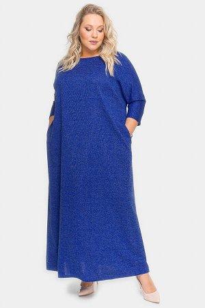 Платье длинное из василькового меланжа