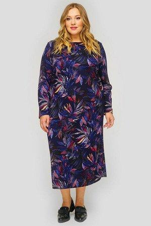 Платье миди с длинным рукавом, джерси синий принт