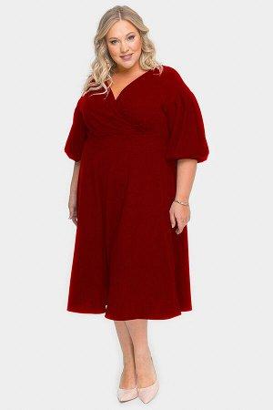 Платье с драпировкой и пышной юбкой, бордовый