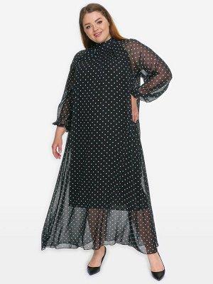 Платье вечернее с воротником стойка, шифон черный в ментоловый горошек