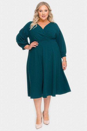 Платье с драпировкой и пышной юбкой, зеленый