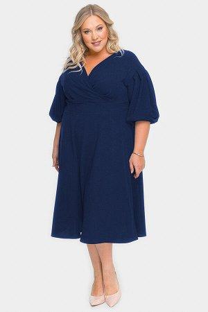 Платье с драпировкой и пышной юбкой, темно-синее
