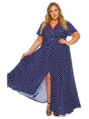 Платье длинное вечернее с кружевом, принт горох на т.синем
