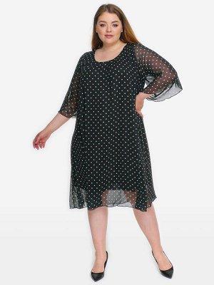 Платье с защипами по горловине, шифон черный в ментоловый горошек