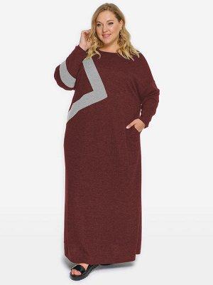 Платье из джерси-меланж с асимметричной отделкой, бордовое, отделка светло-серая
