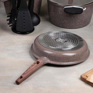 Набор посуды «Гранд», 4 предмета: кастрюли 8/6 л ,сковорода 30х4,5 см, ковш 2 л, набор приборов