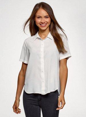 Блузка вискозная с короткими рукавами                   Белый