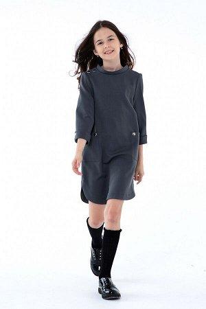 Серое школьное платье, модель 0155