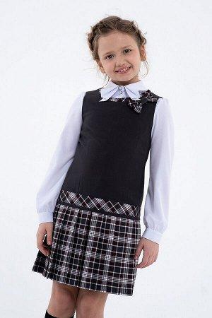 Серый школьный сарафан, модель 0213