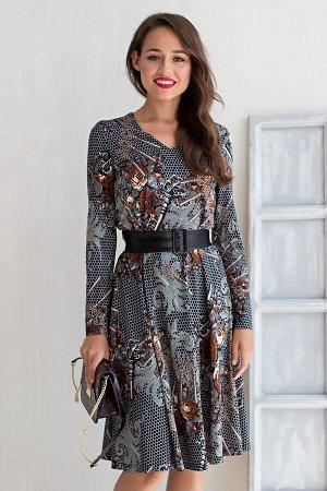 """Платье """"Элисон"""" (ключики) + поясок из экокожи П1615-15"""