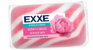 """Туалетное крем-мыло EXXE 1+1 """"Нежный пион"""" 1шт*80г  (РОЗОВОЕ) полосатое одиночное"""